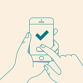 Hand holding smartphone with green check mark. Vector illustration in flat line style