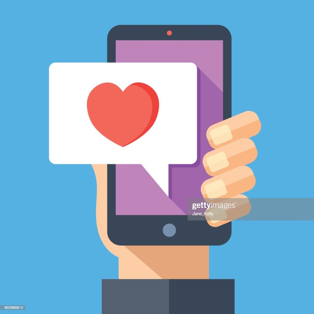 Hand holding smartphone with heart emoji message on screen, like button. Love confession, like. Social network and mobile device. Flat design vector illustration
