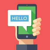 Hand holding smartphone with hello message on screen. Instant messaging, IM, SMS text messaging, online chat concept. Modern graphic elements. Flat design vector illustration