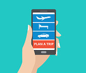 Hand holding smartphone with icons for hotel, flight, car and plan a trip button on screen.