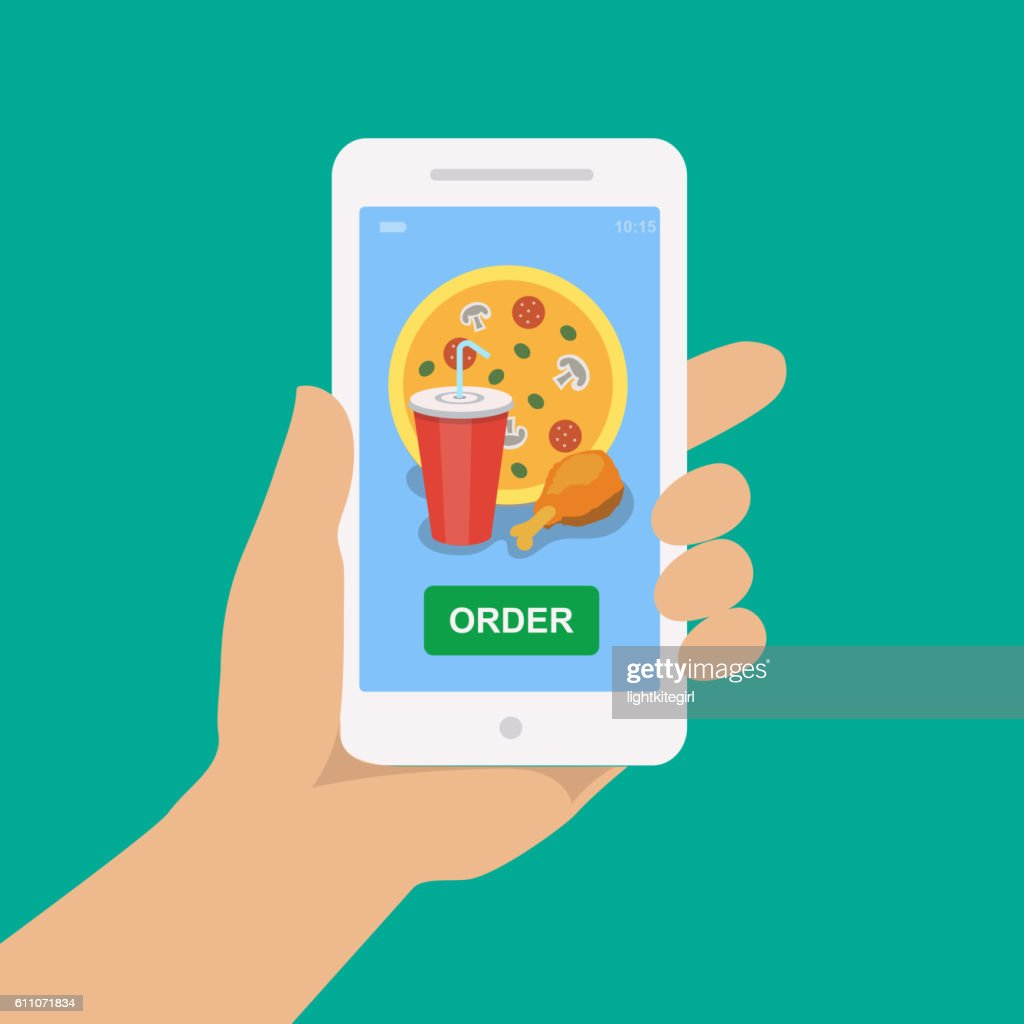 Hand holding smartphone with pizza, cola and chicken