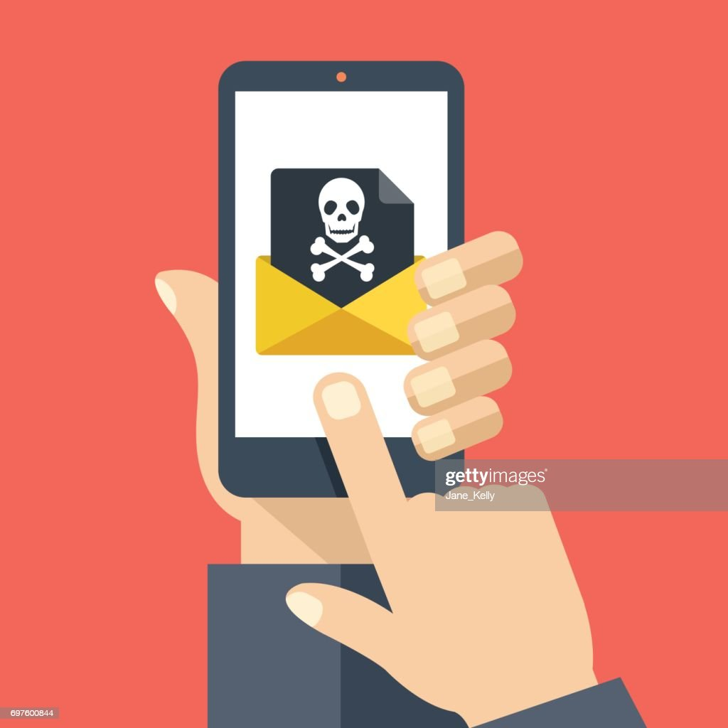 Hand holding smartphone with received envelope with black document and skull icon. Email fraud, virus, malware, e-mail spam, scam, hacker attack, phishing concept. Flat design graphic with long shadow. Vector illustration