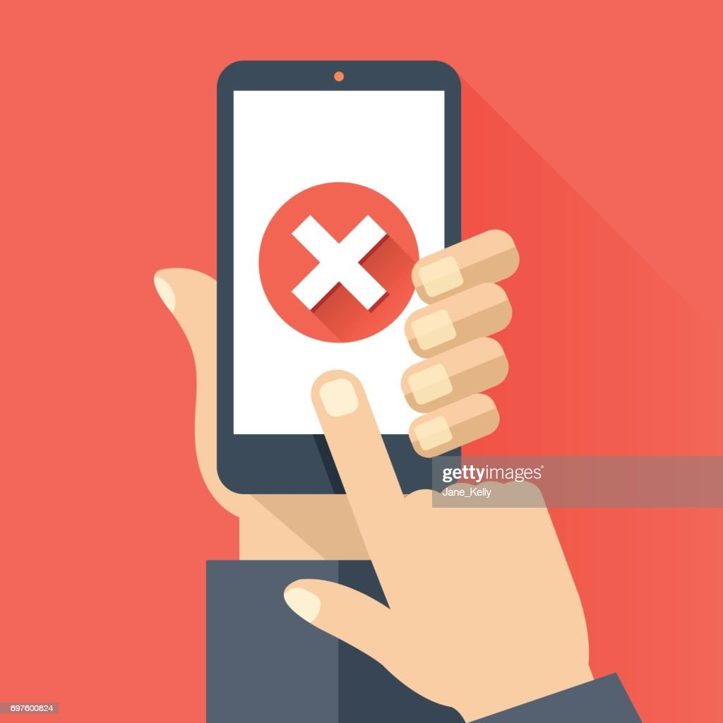 Hand holding smartphone with round red x mark icon on smartphone screen. Modern flat design vector illustration