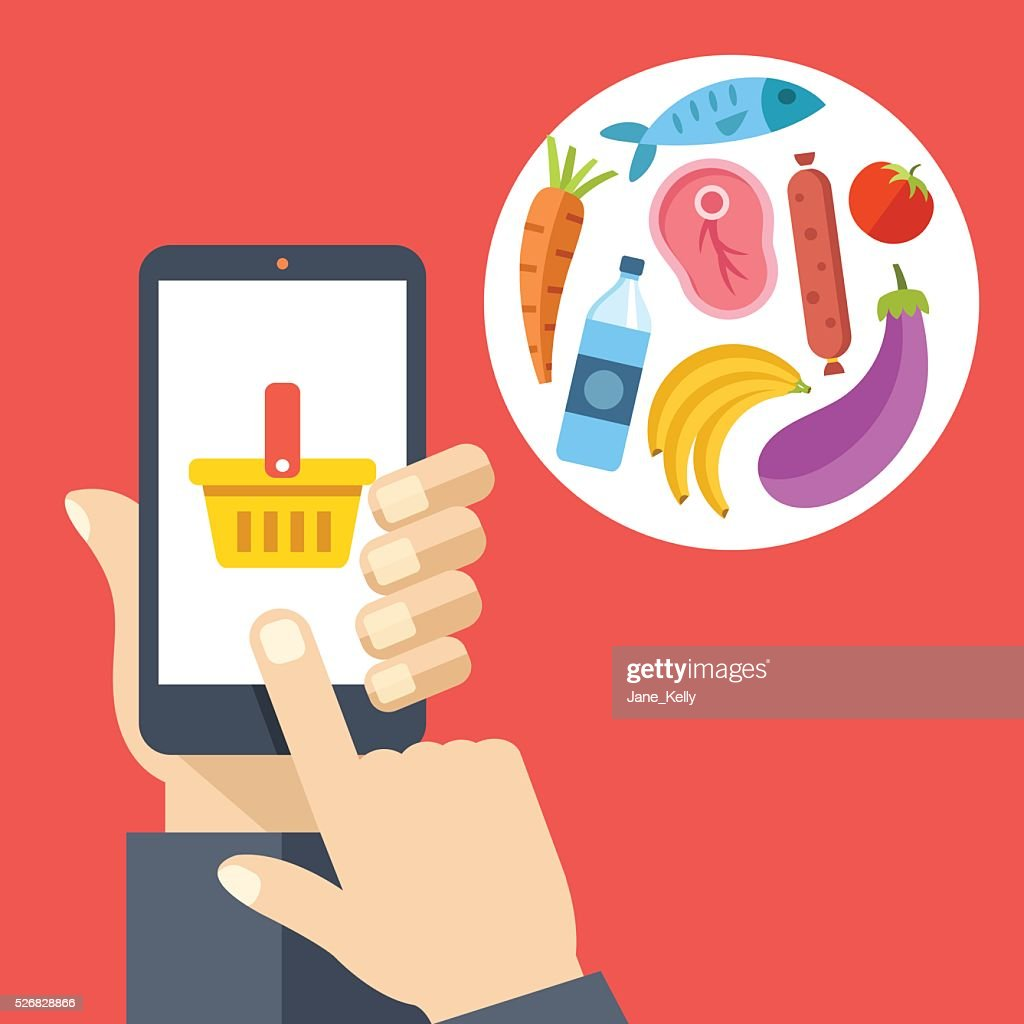 Hand holding smartphone with shopping basket, food products. Buy online