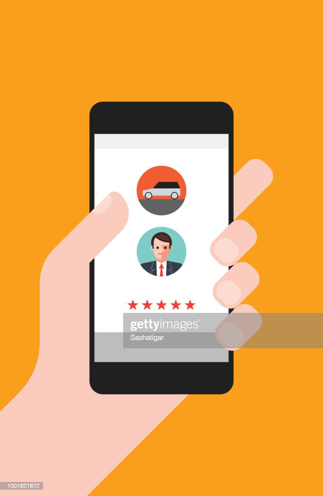 Hand Holding Smartphone With Taxi App Stars Rate