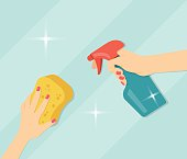 Hand holding sponge and detergent. Flat vector illustration