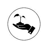 Hand holding sprout icon. Hand holding sprout in circle on white background