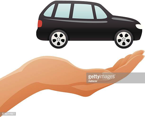 hand holding suv - hatchback stock illustrations, clip art, cartoons, & icons