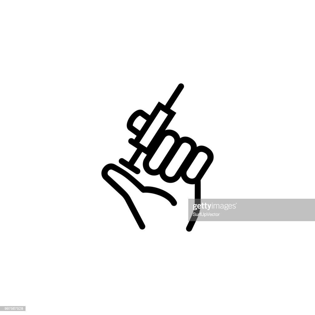 Hand, holding syringe line icon
