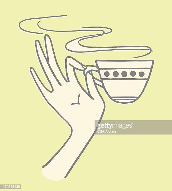 hand holding teacup - caffeine stock illustrations, clip art, cartoons, & icons