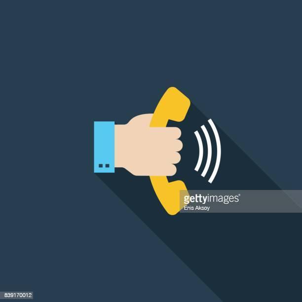 Hand Holding Telephone Flat Icon