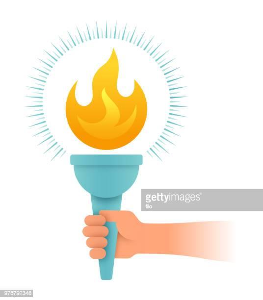 ilustrações, clipart, desenhos animados e ícones de mão segurando tochas - tocha olímpica tocha de fogo
