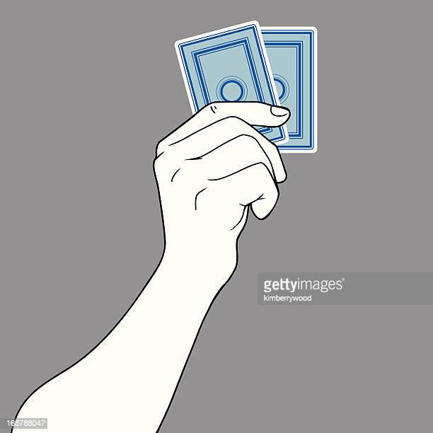 Hand Holding Two Cards