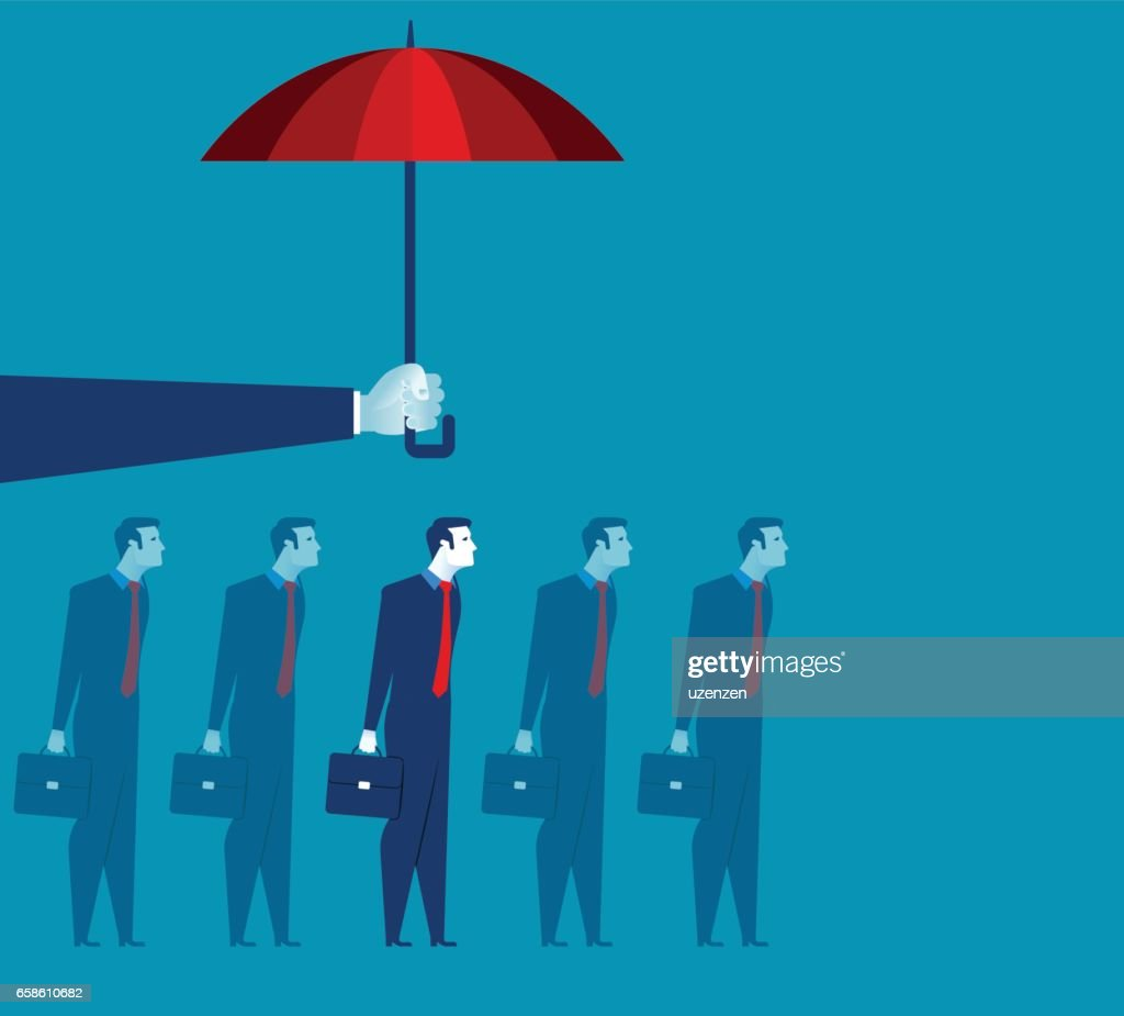 Hand holding umbrella above businessman. Concept business illustration. Vector flat