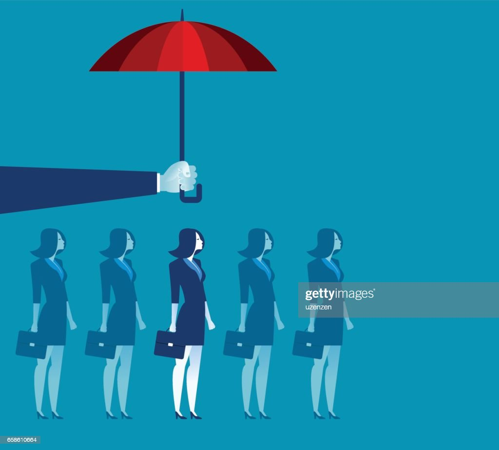 Hand holding umbrella above businesswoman. Concept business illustration. Vector flat