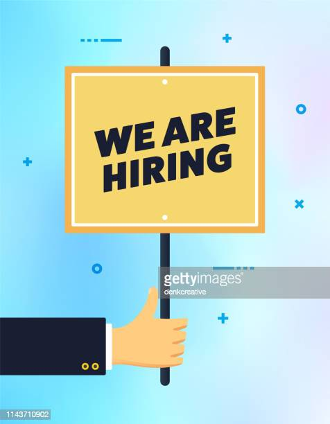 hand holding we are hiring banner sign - wrong way stock illustrations, clip art, cartoons, & icons
