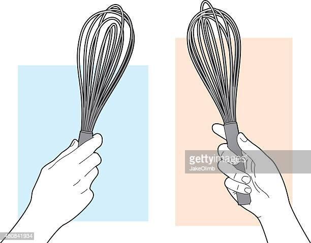 ilustrações de stock, clip art, desenhos animados e ícones de mão segura batedor de arte - batedor de ovos manual