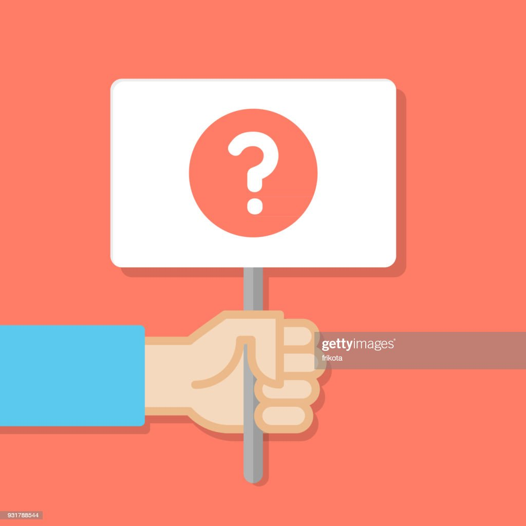 Hand holding white board. Banner with minimal icon. Query symbol. Concept of protest. Vector illustration, flat style.