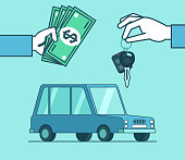 Hand holds car keys and money over the car
