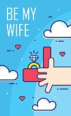 Hand holds the box with an engagement ring. Thin line flat design banner. Vector card.