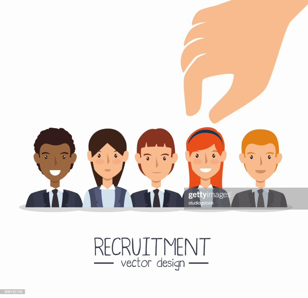 hand human resorces recruit desing isolated