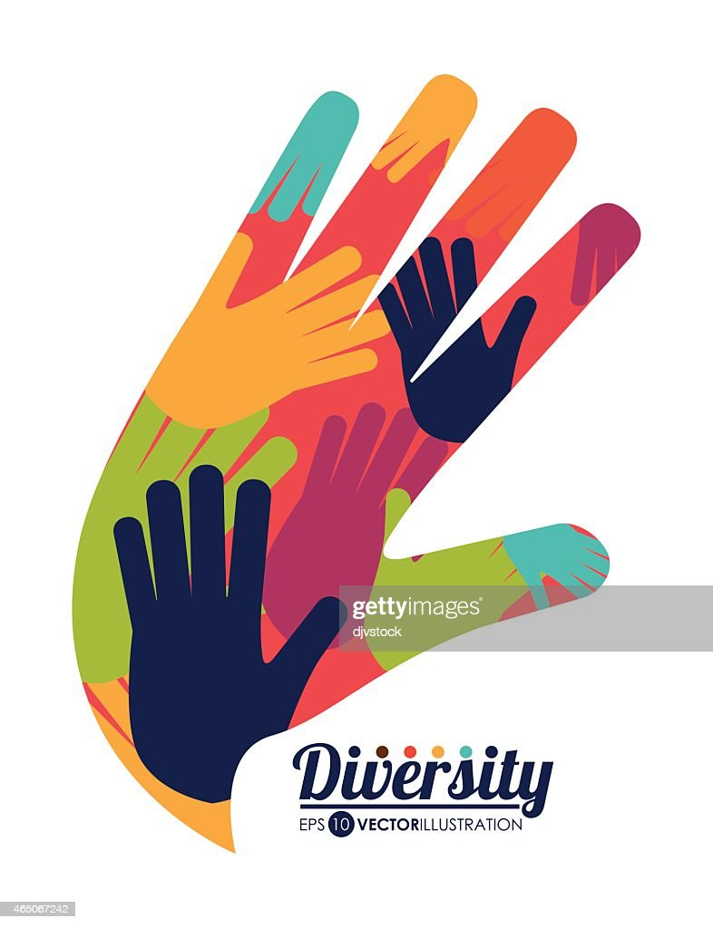 Hand icon with various colored hands inside shows diversity