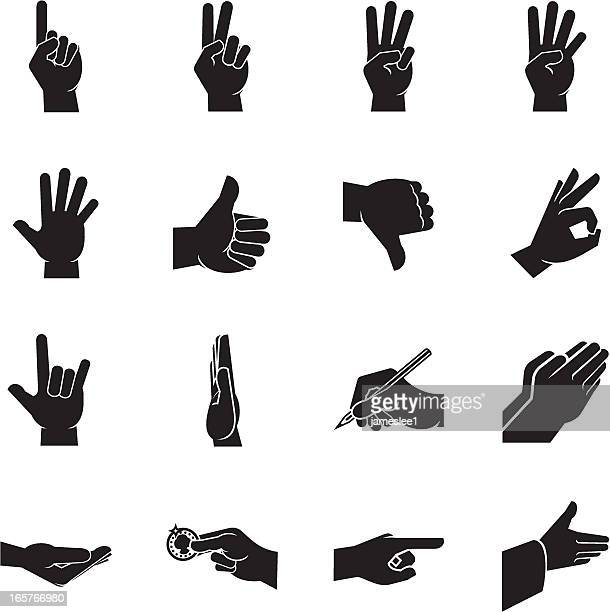 hand icons - thumbs down stock illustrations