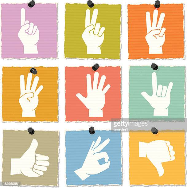 hand icons - sign language stock illustrations, clip art, cartoons, & icons