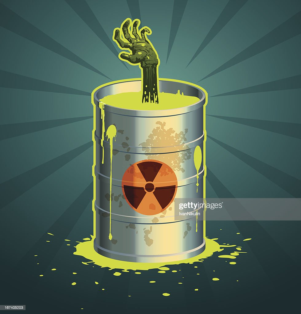 Hand in a barrel of radioactive waste vector : Vektorgrafik