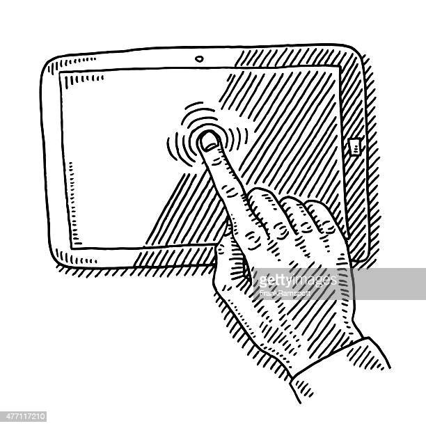 Hand Index Finger On Touch Screen Drawing