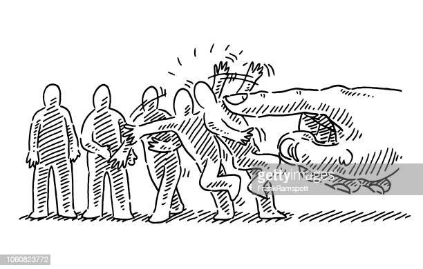 hand jolting human figures instability concept drawing - domino effect stock illustrations