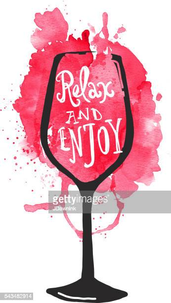 Hand lettered red wine stem glass with watercolor background