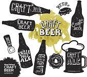 Hand lettered set of craft beer bottles