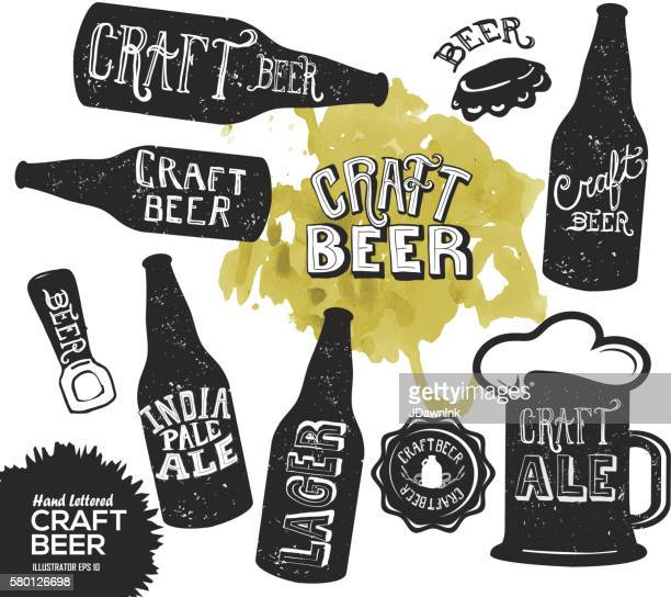 hand lettered set of craft beer bottles - india pale ale stock illustrations, clip art, cartoons, & icons