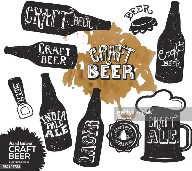 hand lettered set of craft beer bottles - beer glass stock illustrations, clip art, cartoons, & icons