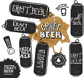 Hand lettered set of craft beer cans