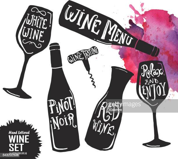 hand lettered set of wine glasses and bottles - red wine stock illustrations, clip art, cartoons, & icons