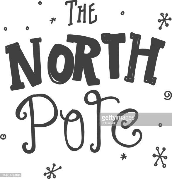 Hand lettered The North Pole writing text