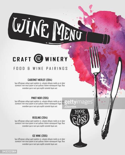 Hand lettered Wine menu design template