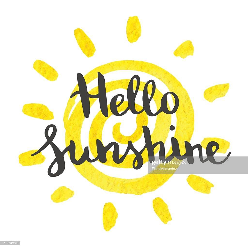 Hand lettering art piece hello sunshine.