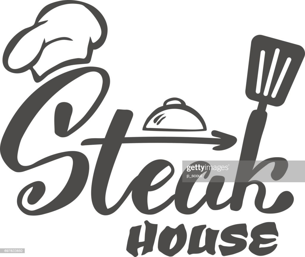 Hand Lettering Iconsteak House Label Icon And Emblem Vector ...