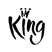 Hand lettering . Word King and crown isolated on white background. Decorating of invitations,greeting,cards , t shirts. Vector ink illustration