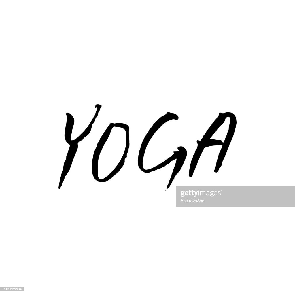 Hand lettering Yoga logo letters. Can be printed on greeting cards, paper and textile designs.