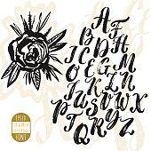 Hand made brush and ink typeface. Handwritten retro textured gru