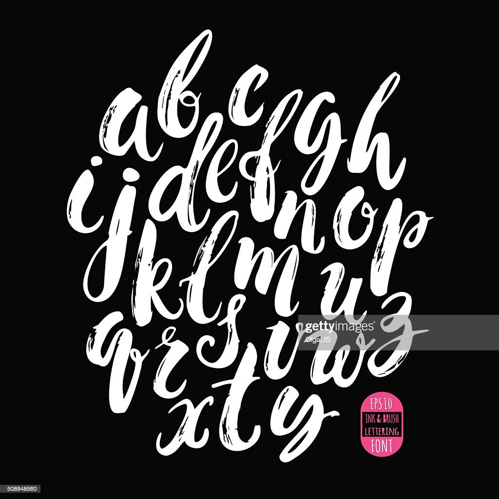 Hand made brush and ink typeface. Handwritten retro textured gru
