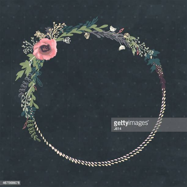 hand made floral wreath with pink flowers - wildflower stock illustrations