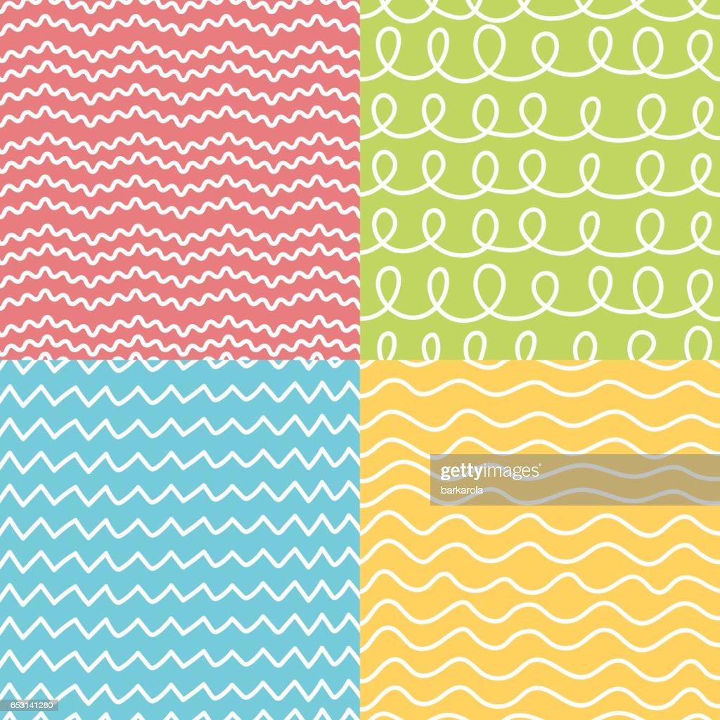 Hand made seamless geometric pattern set.
