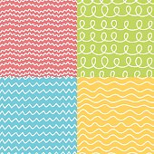 Hand made seamless geometric pattern set.