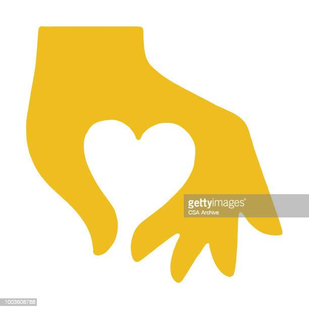 hand making heart - heart shape stock illustrations