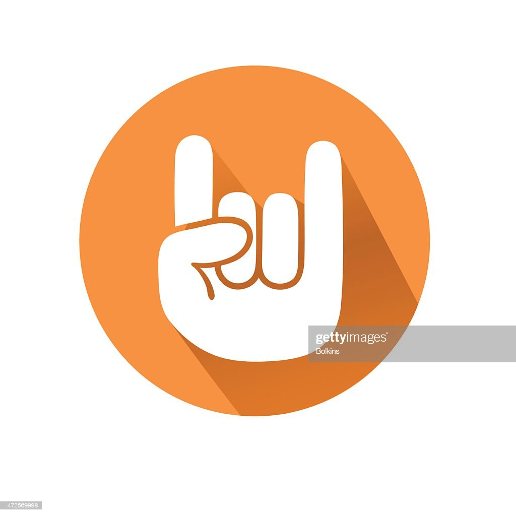 A hand making the rock on gesture in an orange circle